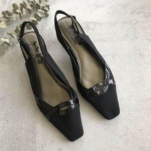 COACH AND FOUR Black Textile Slingback Heels 8.5